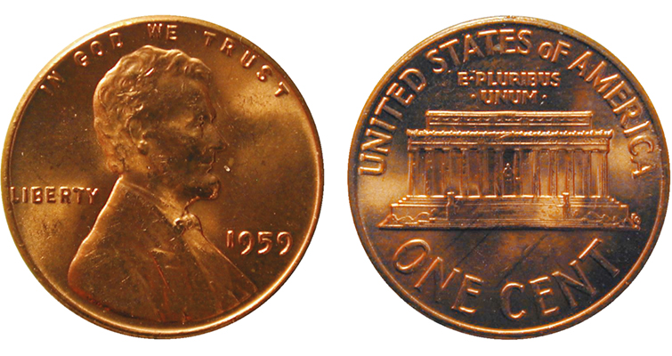 1959 Lincoln Memorial cent merged