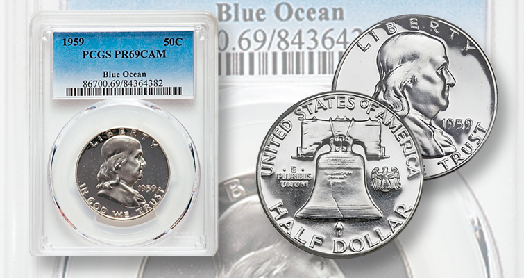This PCGS Proof 69 Cameo 1959 Franklin half dollar is alone in its grade