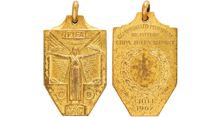 1962: one  of three FIFA gold medals earned by soccer star Pelé sold in auction