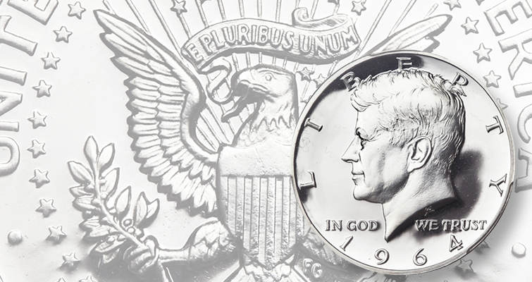 "The order to begin work on the new half dollar came Nov. 27 – five days after President Kennedy's assassination. On Dec. 17, Roberts showed a prototype of the coin to the president's widow, who suggested ""mussing""  Kennedy's hair. The first Proof coins (like the example shown) were produced in early January, and circulation-strike coins were produced at Denver Jan. 30."
