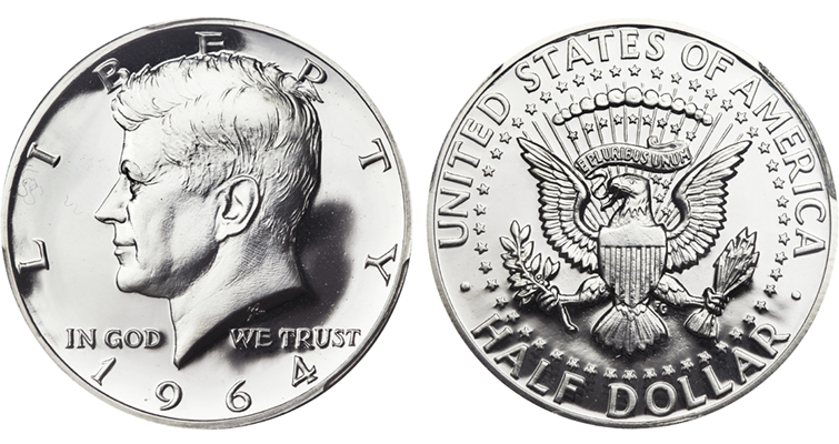 Much of the work had actually been done two years earlier. Roberts modified the Kennedy portrait he had prepared in 1961 for the Mint's presidential series medal. Frank Gasparro's presidential-seal reverse was repurposed, too, from the same medal.