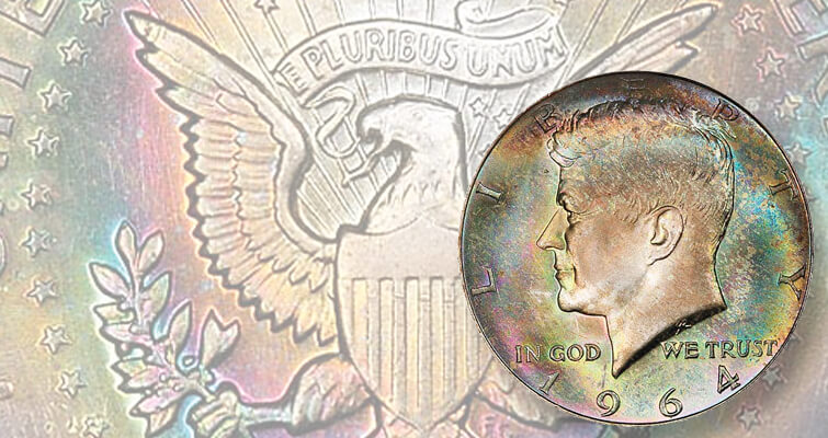 Kennedy half dollar with 'funkadelic' toning brings $22,325: Market Analysis