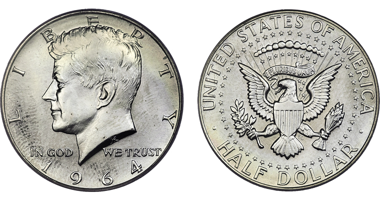 MS-67 1964 Kennedy half dollar with a finish similar to that seen on Special Mint sets
