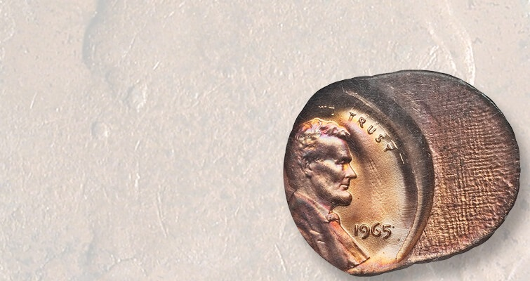 1965-cent-struck-on-planchet-with-cloth-pattern-lead