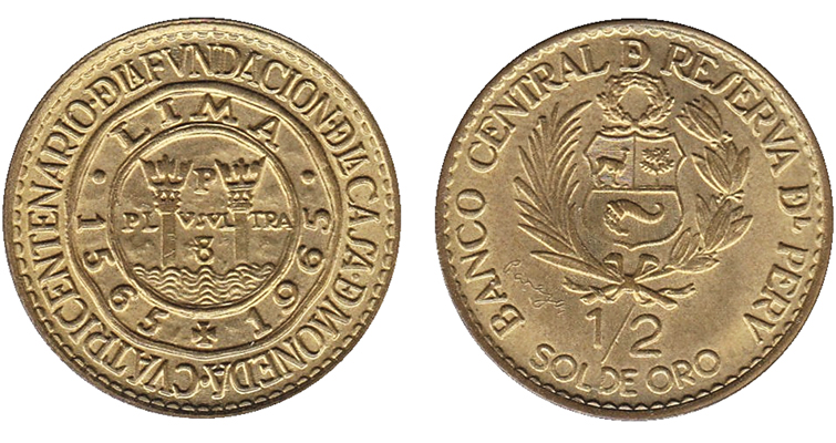 Peru celebrates Lima Mint anniversary on 1965 half-sol coin.