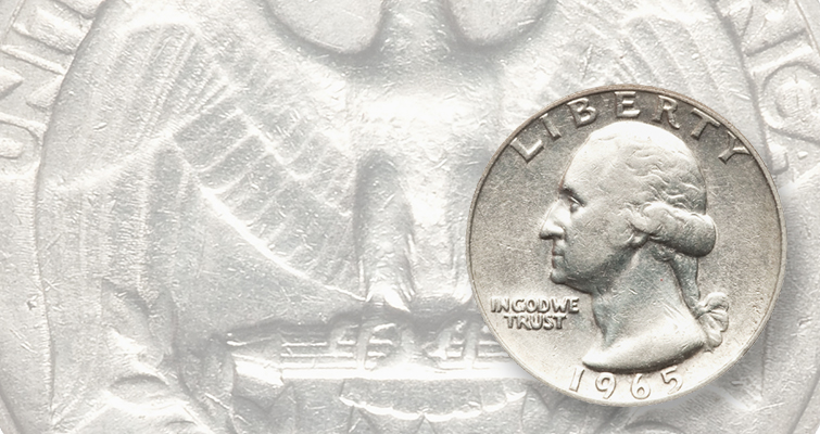 The year 1965 was one of transition for U.S. coinage. The Mint was striking both 1964 Washington quarter dollars on 90 percent silver planchets and 1965 Washington quarters on copper-nickel clad planchets. This coin captures the transition perfectly even though it is an error — it is a 1965 quarter dollar struck on a silver planchet intended for a 1964-dated coin. This piece sold for $2,760 in an April 2011 auction by Heritage.
