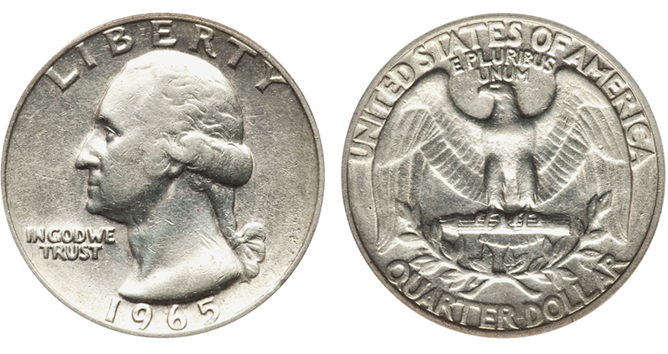 From 1965 to 1967, coins were struck past the end of the calendar date they bore. This 1965 Washington quarter dollar transitional error struck on a 90 percent silver planchet intended for a 1964-dated coin could have been struck in 1966.