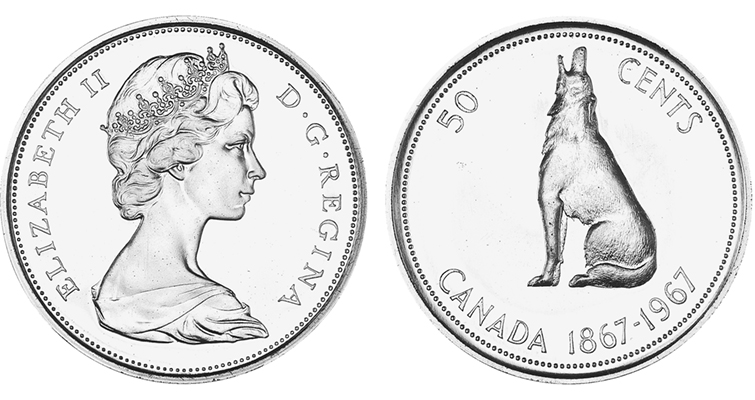 Canada's most iconic 50-cent coin with the howling wolf marks the nation's centennial.
