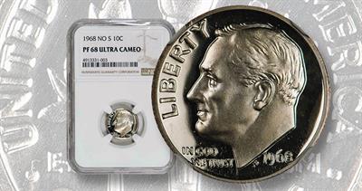 1968 Roosevelt no S dime