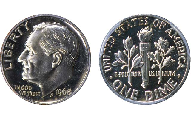 PCGS Proof 68 1968 Roosevelt No S Dime Realizes 3110250 In GreatCollections Auction