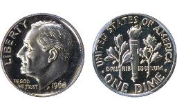 A Proof 1975-S Roosevelt dime that's missing its 'S' brought