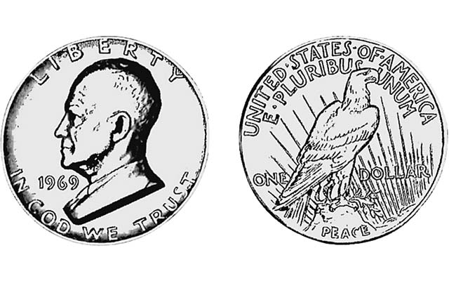 Original Eisenhower dollar included proposed Peace dollar reverse