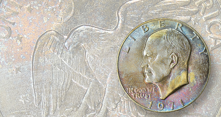 Richly toned 1971 Eisenhower dollar is a pricey first-year issue: Market Analysis