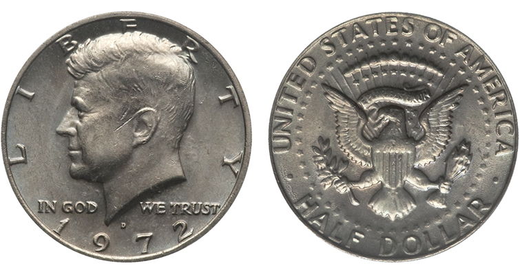 1972-D Kennedy half dollar missing FG initials