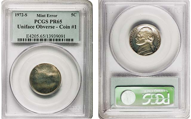 Uniface Proof 65 5-cent errors are rarely seen by traders, collectors alike