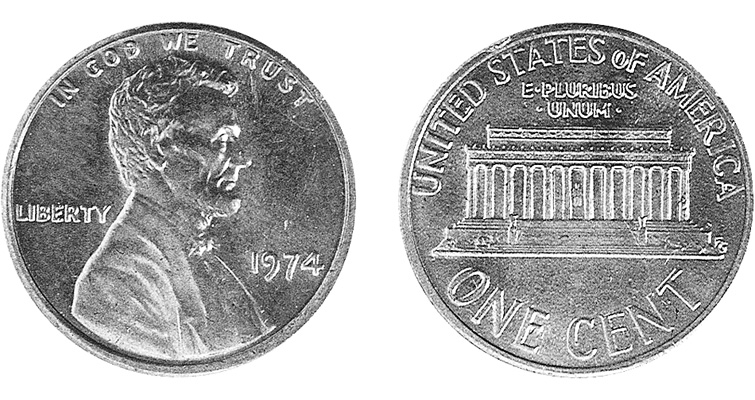 An unexpected telephone call in 1994 resulted in the discovery of an experimental coin no one in the hobby knew existed — a 1974 Lincoln cent struck on a bronze-clad steel planchet with regular dies. Only black-and-white images exist.