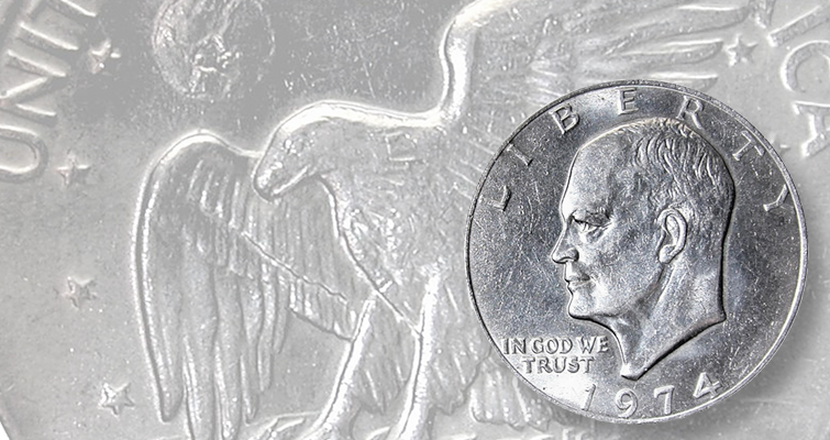 1974 Eisenhower dollar lead