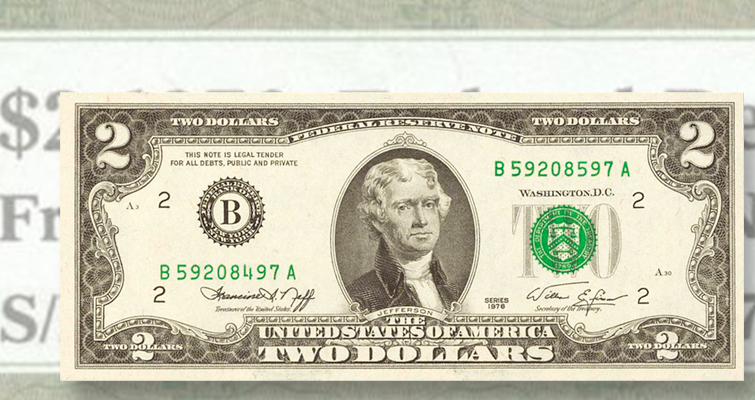 Series 1976 $2 note with mismatched serial numbers