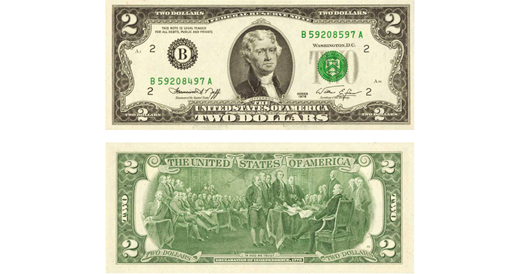 Series 1976 $2 Federal Reserve note with mismatched serial numbers