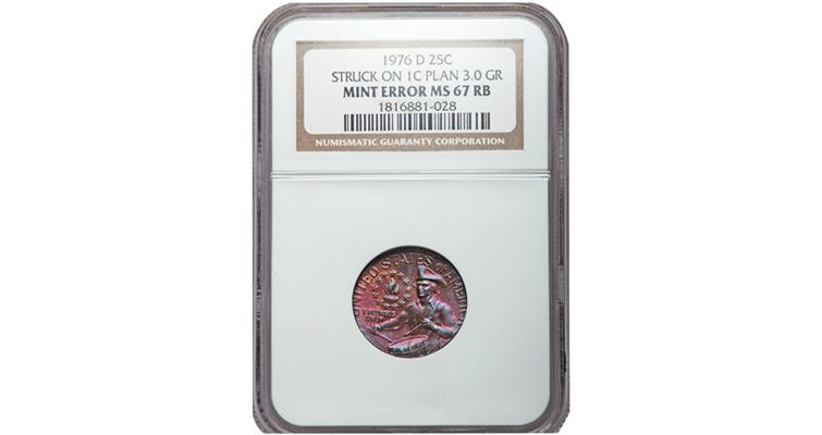 Bicentennial quarter dollar struck on cent planchet in auction