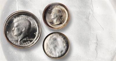 Die cap errors on 1976 quarter dollar and half dollar