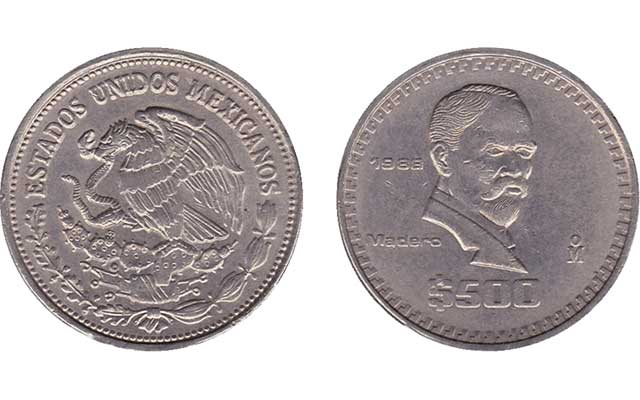 A Reader Hoped To Have Found Rare Gold Coin Of Mexico But His Discolored 1988 500 Peso Is The Common Circulating Version Like One Shown Here