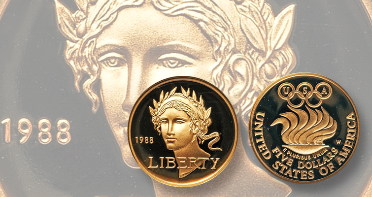 The peak of Olympic gold coins""