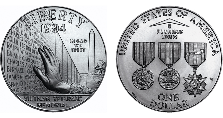 The 1994 Vietnam Veterans War Memorial silver dollar honored those unfortunate soldiers who died in the jungles of Vietnam. The obverse shows a section of The Wall. The coin shown is the Uncirculated version, struck at the West Point Mint. The Proof version was struck at the Philadelphia Mint.