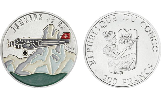 1995-congo-uncirculating-100-francs-junkers-ju-52-plane