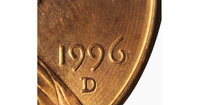 1996-D Lincoln cent with lathe marks