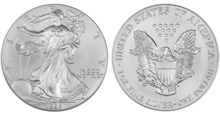 1999 Silver American Eagle MS-70 merged