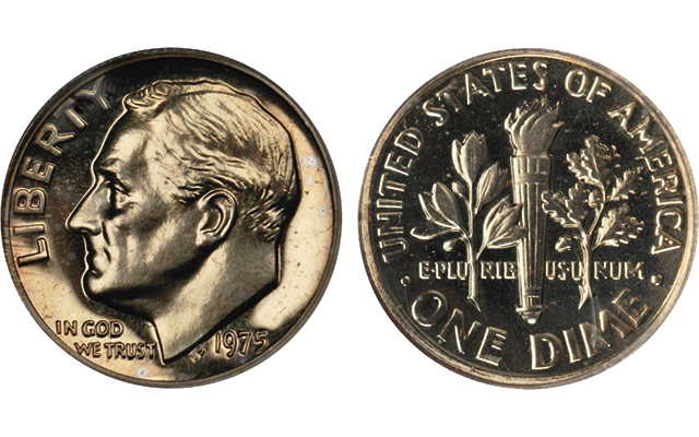Pictured here is a Proof 1975-S Roosevelt, No S dime, one of the rarest Roosevelt dimes. Is the coin in need of a change?