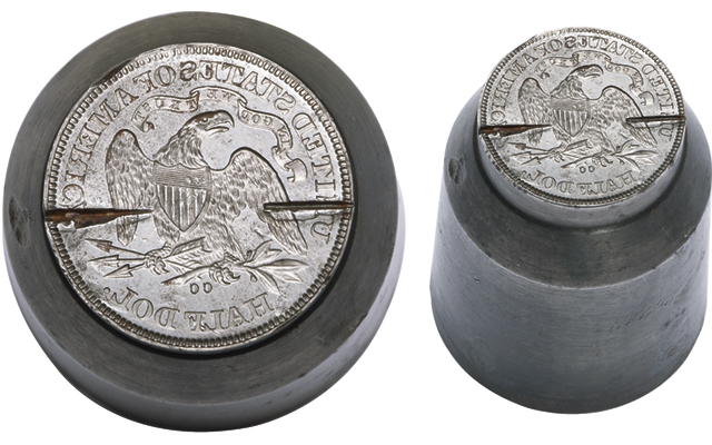 Canceled 1870-CC Seated Liberty half dollar reverse die, struck coin in exhibit