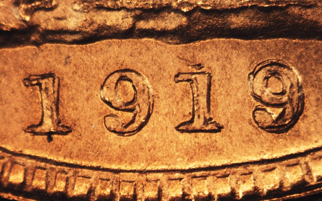Foreign counterfeit coin: 1919 gold sovereign a target for counterfeiters