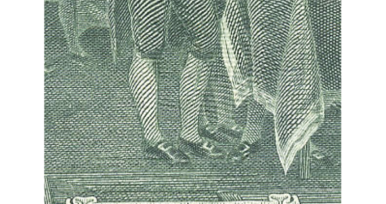 Detail of feet on $2 Federal Reserve note