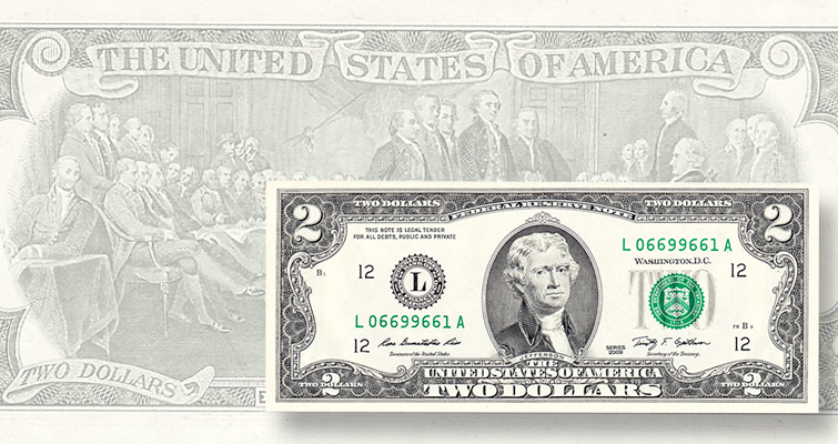 Small-size $2 denomination returns in 1976 as a Federal Reserve note