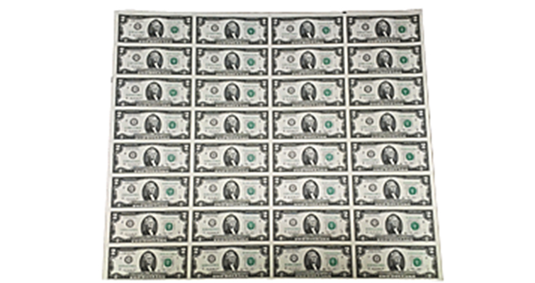 Uncut sheet of $2 Federal Reserve notes