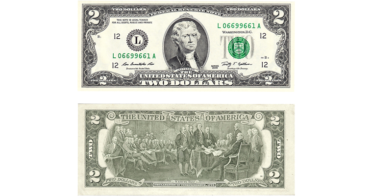 Series 1976 $2 Federal Reserve note