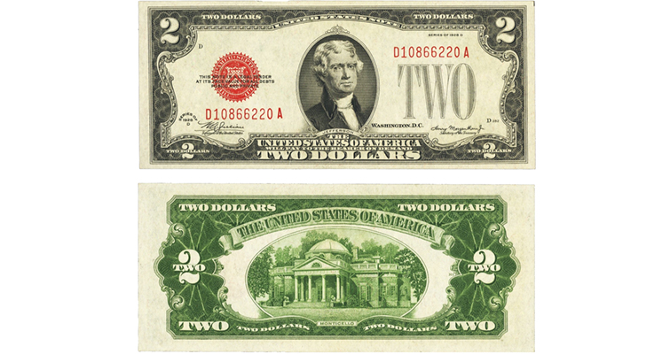 Small-size $2 United States note