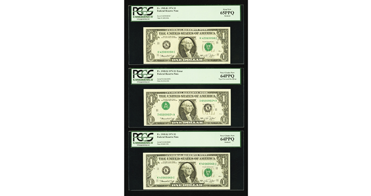 Invert overprint 1974 three notes bookends face