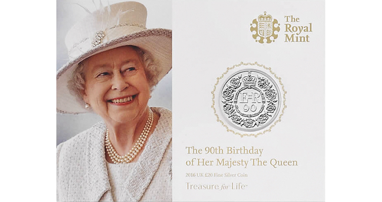Royal mint issues coins for queens 90th birthday coin world one of several versions of the royal mints 2016 queens 90th birthday coin is the proof 9167 fine gold 5 coin which has a mintage limit of 1800 pieces bookmarktalkfo Choice Image
