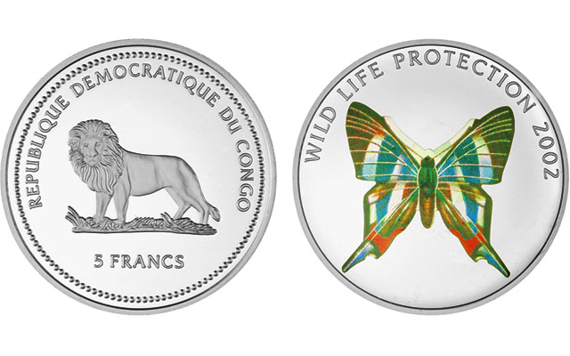 2002-congo-uncirculated-5-francs-butterfly
