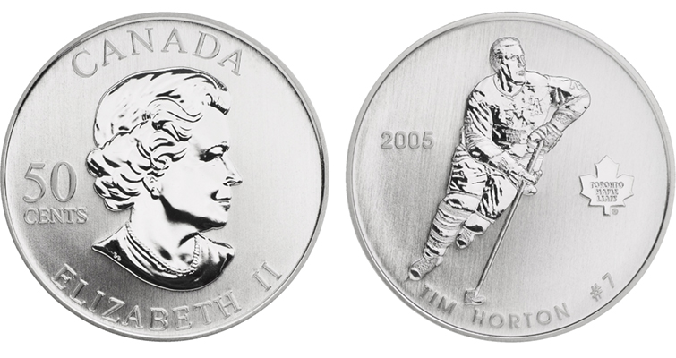 Hockey player Tim Horton is celebrated on a silver 50-cent coin.
