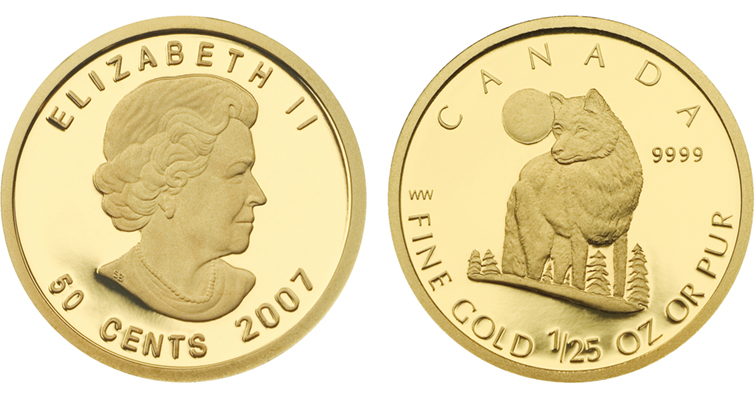 2007-canada-gold-wolf-50-cent-coin