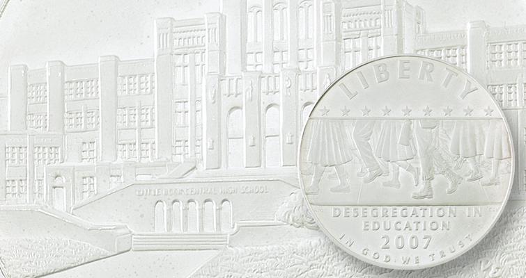 2007 P Little Rock Central High School Desegregation Silver Dollar Brilliant UNC