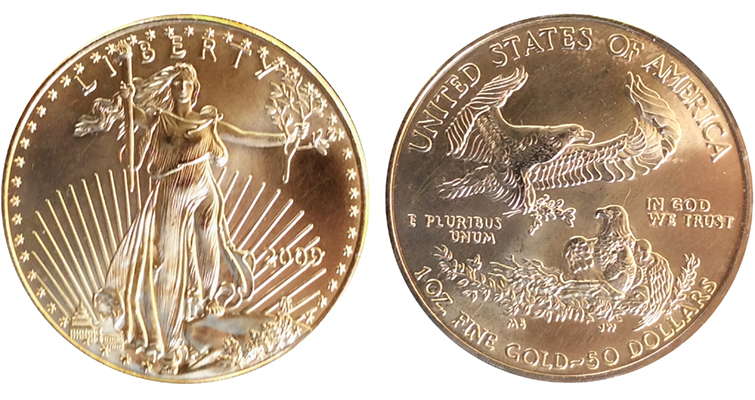 This piece, with the general appearance of a 2009 American Eagle gold $50 coin, is actually a base metal counterfeit that was included among other counterfeits and genuine coins submitted to a dealer for sale.