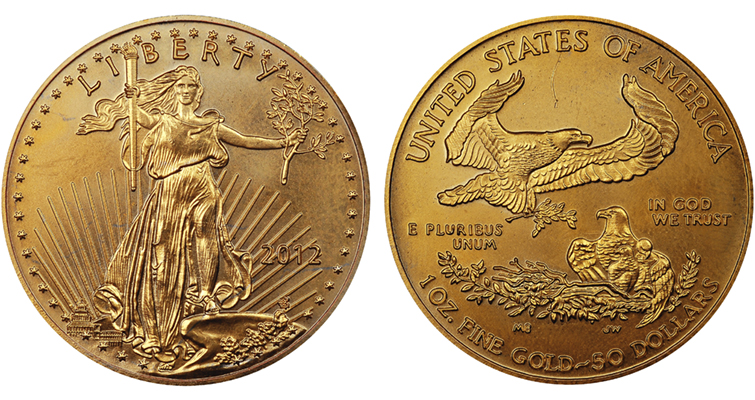 2012 fake 1-ounce gold American Eagle merged