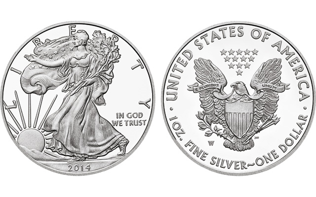 2014-W Proof American Eagle silver coin sales behind 2013