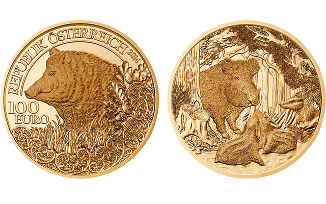 Austrian Mint issues Wild Boar gold coin in wildlife series