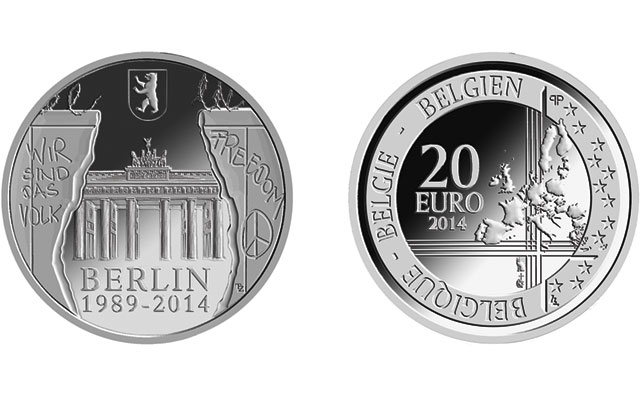 Berlin Wall anniversary commemorated on Belgian silver €20 coin
